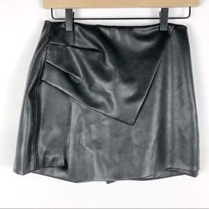 Zara Asymmetric Faux Leather Skort Faux Wrap